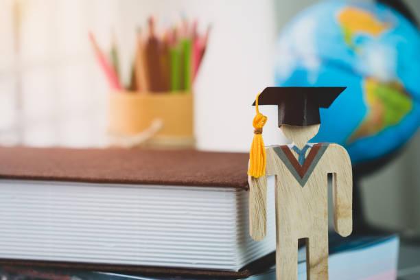 education learning concept, university knowledge achievement for study abroad international, alternative studying idea. Models graduation celebration pencils box background, Back to School.